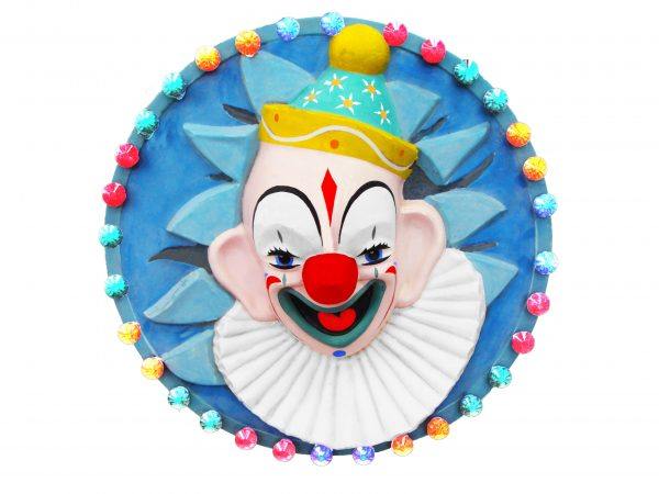 Round Clown Face display mould fully painted and lacquered, complete with lights