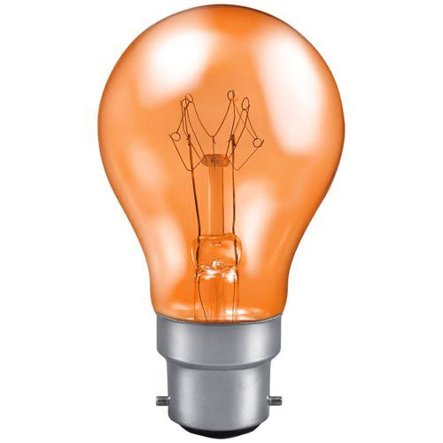 25w 240v B22 GLS Harlequin Translucent AMBER light bulb