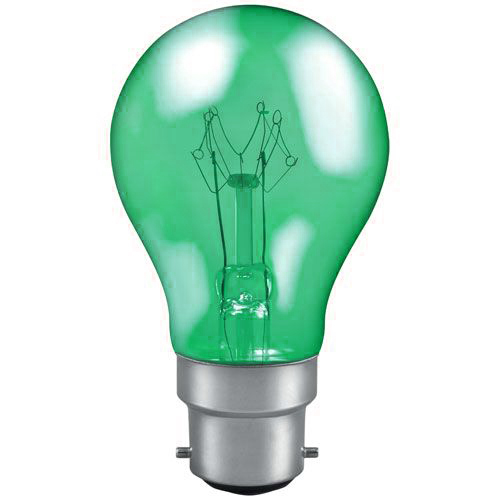 25w 240v B22 GLS Harlequin Translucent GREEN light bulb