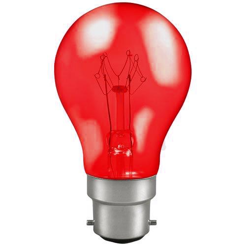 25w 240v B22 GLS Harlequin Translucent RED light bulb